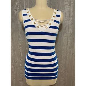 Belldini Blue & White Striped Knit Top M NWT